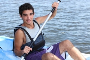 Young man on a kayak