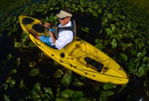 Man in a fishing kayak